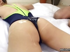 japanese gymnast getting her ass lubed