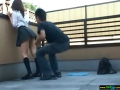pleasant cute asian teen beauty receive outdoor