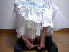 japanese tranny in bloomers dildos and cums for