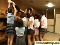 indecent japan schoolgirls jerk off a hard cock