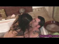 hawt asian angels engulfing shlong in the bathtub