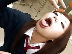 lustful asian schoolgirl swallows big amount of