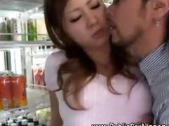 oriental japanese girl caressed in the store