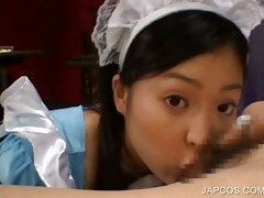 close-up with brunette hair oriental giving bj