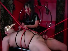concupiscent lad in bondage act with an oriental