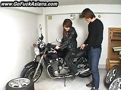 oriental bikerchick receives her love tunnel