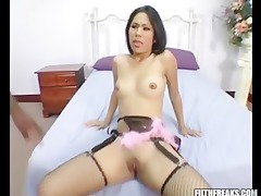 oriental gal acquires her hairless muff filled
