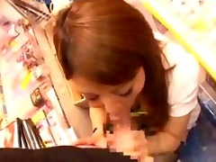 oriental angel on her knees giving blowjobs for 5
