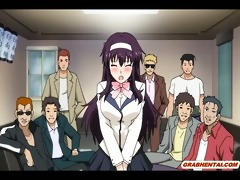 japanese anime engulfing and riding her boss