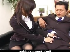 hot secretary satomi maeno sucks an unsightly rod