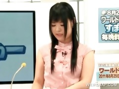 lovely asian tv host receives cookie teased