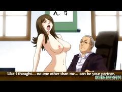 breasty japanese anime hawt riding her boss rod