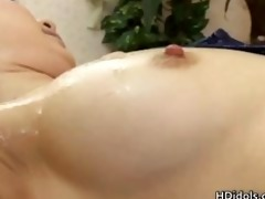 super horny asian playgirl covered in cock juice