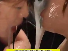 oriental babes drenched in sex cream and drilled