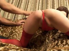 jock humping slender and long legged honey in red