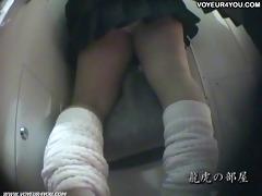 japanese schoolgirls pants in nature