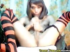 sheboy wanking her massive pecker
