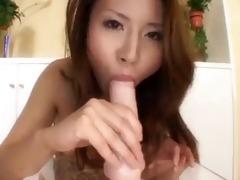 hawt asian sucks and bonks her dildo