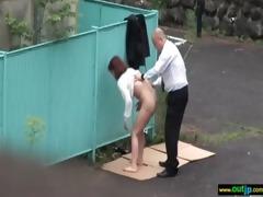 outdoor perverted japanese gal receive screwed