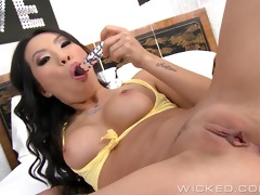 asa akira masturbates and takes it up the wazoo