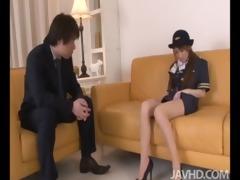 cute and lascivious yuzu shiina in her airline