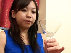 hot japanese chicks spit in a glass and...