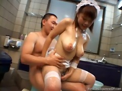 breasty japanese cutie gangbanged in the tub