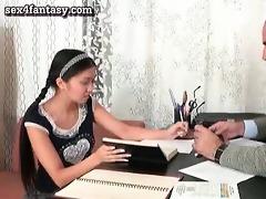 oriental gal sucks her teacher penis