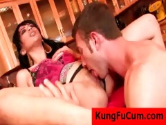 oriental babe gives blowjob after fur pie licking