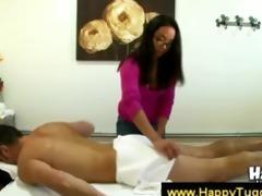 oriental masseuse with glasses grabs jock