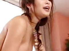 oriental cutie getting fingered engulfing cock