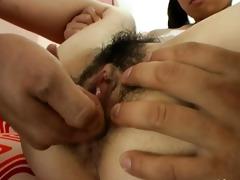 bushy schoolgirl from oriental drilled hard
