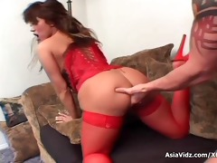 giant titted oriental pornstar in sexy red