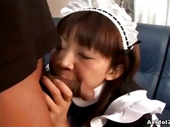 oriental legal age teenager maid engulfing on