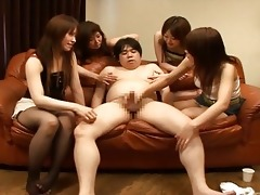 four hot oriental beauties and one bulky wang