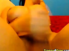 breasty sheboy jerks off her large hard cock!