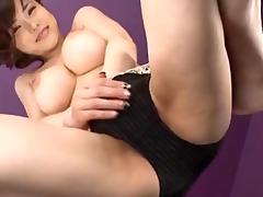 breasty japanese wench anri okita slams her curly