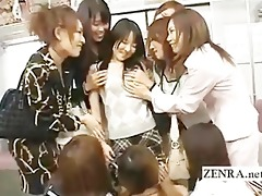 eager public japanese lesbo giving a kiss