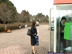 japanese flasher receives threesome hard core sex