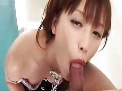 oriental dark brown sucks cock deeply in a
