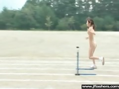 oriental babe beauty flashing in public and team