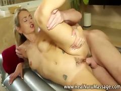 small masseuse sweetheart receives a jizz flow