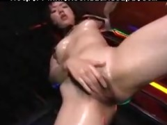 oily asin chick with electric dildo oriental