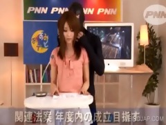 oriental cutie gets tit rubbed in a tv show