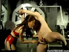 oriental dominatrix-bitch and her bound up serf