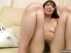 licking a hairy japanese milf snatch