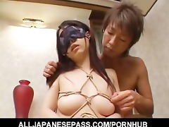 yuka osawa is bound and blindfolded in her
