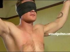 blindfolded and naked stud receives tied up and
