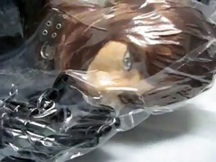 hotty with rubber mask in vacuum bag