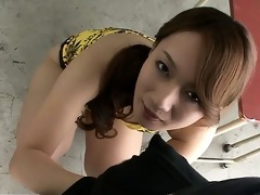 kazumi nanase on her knees engulfing cocks and